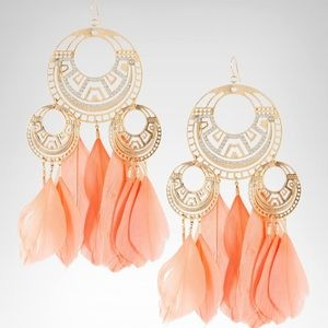 BEBE Gold Earrings with Orange Feathers